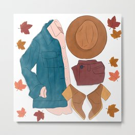 Sweater Weather flat lay drawing // autumn leaves, boots, hat, jean jacket Metal Print