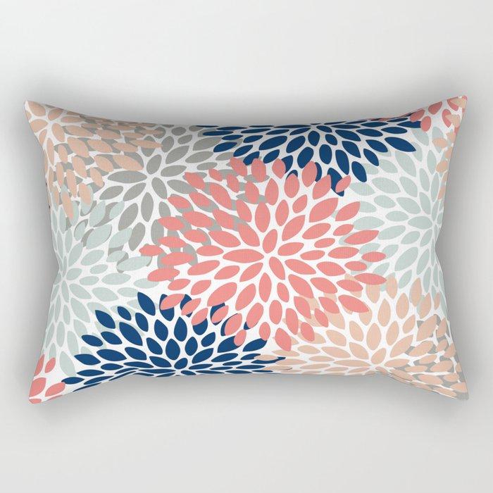 Floral Bloom Print, Living Coral, Pale Aqua Blue, Gray, Navy Rectangular Pillow