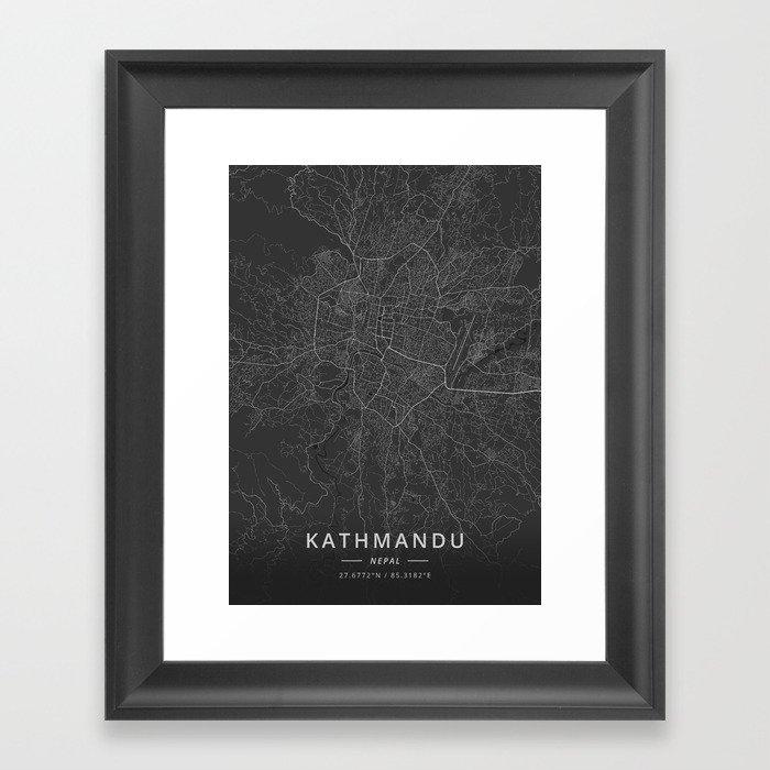 Kathmandu, Nepal - Dark Map Gerahmter Kunstdruck