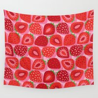 strawberry Wall Tapestries featuring Strawberry by Helene Michau