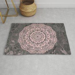 Pink lace mandala on gray Marble Rug