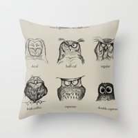 friday Throw Pillows featuring Caffeinated Owls by Dave Mottram