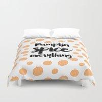 pumpkin Duvet Covers featuring Pumpkin Spice - Pumpkin Pattern by Allyson Johnson