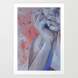 Pink and Blue Thoughts Watercolor Portrait Art Print