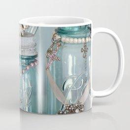 Vintage Mason Jars Shabby Chic Cottage Jeweled Decor Coffee Mug
