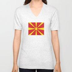 Flag of Macedonia - Macedonian,skopje,Bitola,Kumanovo,Prilep,Balkan,Alexander the great,Karagoz,red Unisex V-Neck