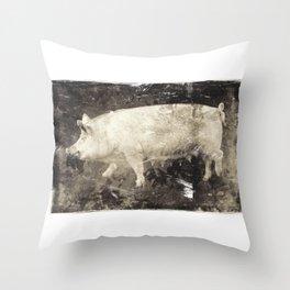 Vintage Aesthetic Pork Photograph Throw Pillow