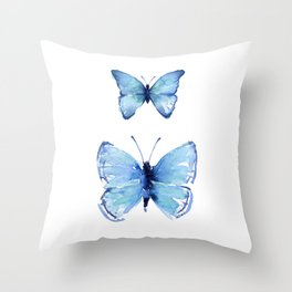 Two Blue Butterflies Watercolor Throw Pillow