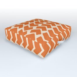 Orange Geometric Pattern Retro Print Outdoor Floor Cushion