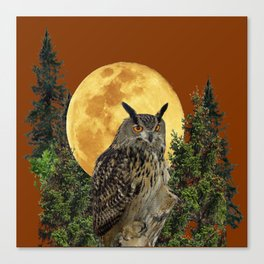 BROWN WILDERNESS OWL WITH FULL MOON & TREES Canvas Print