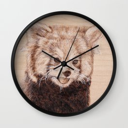 Red Panda Portrait - Drawing by Burning on Wood - Pyrography Art Wall Clock