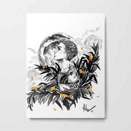 Boy N Moon Metal Print