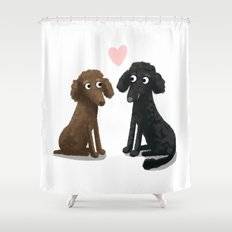 Cute Dog Illustration- Poodles Shower Curtain