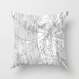 Intricate Halloween Spider Web Grey Palette Throw Pillow