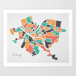 Pittsburgh Pennsylvania Map with neighborhoods and modern round shapes Art Print