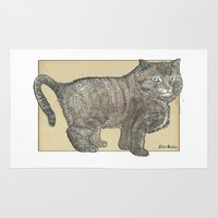 furry Area & Throw Rugs featuring Furry Cat by Felis Simha