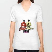 akira V-neck T-shirts featuring Drive / Akira  by KScully