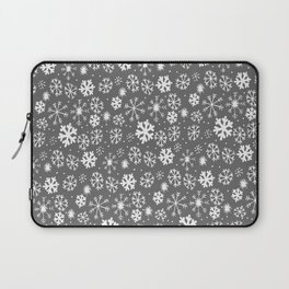 Snowflake Snowstorm With Silver Grey Gray Background Laptop Sleeve