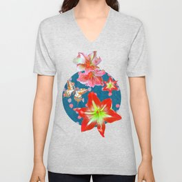 Amaryllis and Butterflies 2 Unisex V-Neck