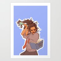 hermione Art Prints featuring Hermione (blue) by batcii