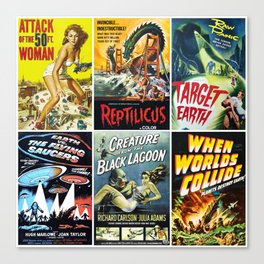 50s Sci-Fi Movie Poster Collage #1 Canvas Print