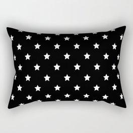 Black Background With White Stars Pattern Rectangular Pillow