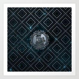 Capricorn Zodiac Silver Embossed on the Star sky Art Print