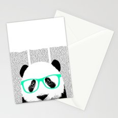 Panda with teal glasses Stationery Cards