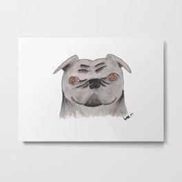 Black Pug Alice Metal Print