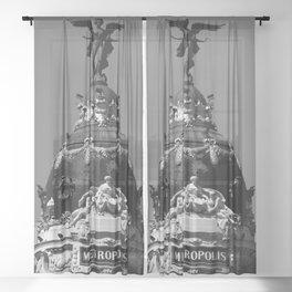 Madrid, Spain, Edificio Metrópolis Beaux-Arts Statue black and white photograph / art photography Sheer Curtain