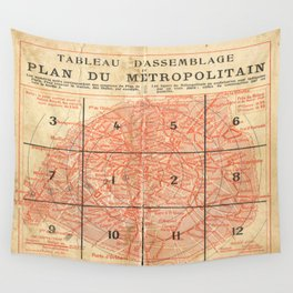 Vintage Paris City Centre Map Wall Tapestry