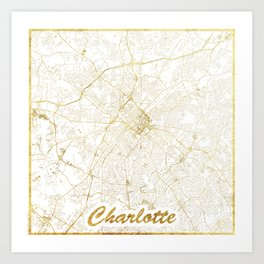 Charlotte Map Gold Art Print