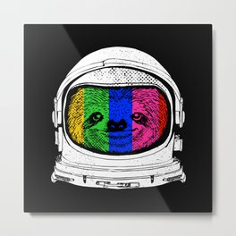 Astronaut Sloth Metal Print