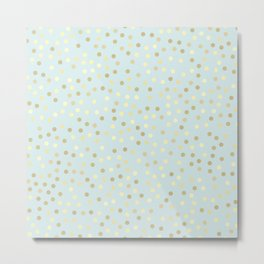 Light Blue Gold Polka Dots Metal Print