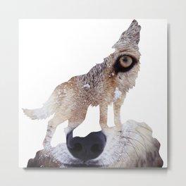 Wolf Cutout Metal Print