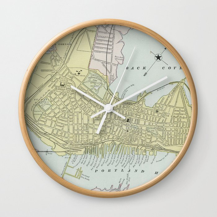 Vintage Map of Portland Maine (1889) Wall Clock