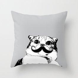 Moustache cat Throw Pillow