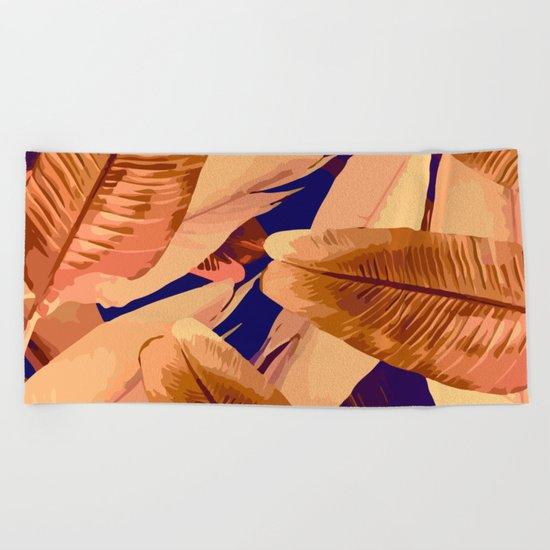 Banana Leaves Orange and Purple Beach Towel