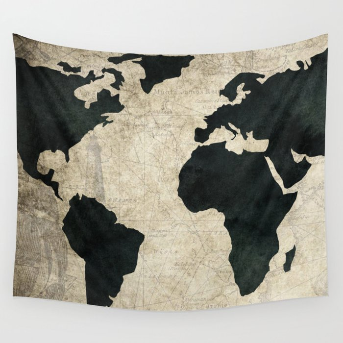 Antique World Map Tapestry.Antique World Map Black On Vintage Nautical Wall Tapestry By