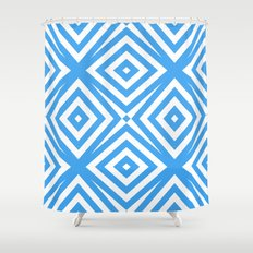 Blue and WHite Diamond Abstract Shower Curtain