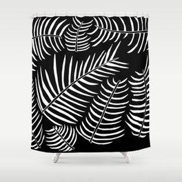 B&W Inverted Leaves Shower Curtain