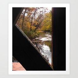 A river under a covered bridge Art Print
