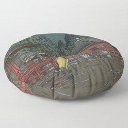 Hasui Kawase, Rain In Nikko, Futatsudo - Vintage Japanese Woodblock Print Art Floor Pillow