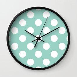 Gone Dotty Spotty - Geometric Orbital Circles In Pale Spring Fresh Green & White Wall Clock