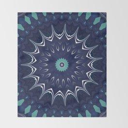 Navy Blue Teal Mandala Design Throw Blanket