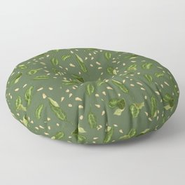 Leaves and seeds in green colors Floor Pillow