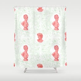 Ancient Greek Bust Pattern Floral in Watermelon Classic Design Shower Curtain