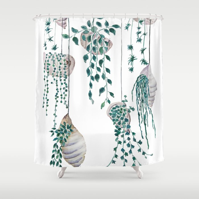 Hanging Plant In Seashell Shower Curtain