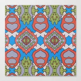 Wilma - Symmetrical Abstract Art in Blue, Orange and Green Canvas Print
