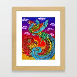 Colorful Fenghuang Chinese Phoenix Rainbow Bird Framed Art Print
